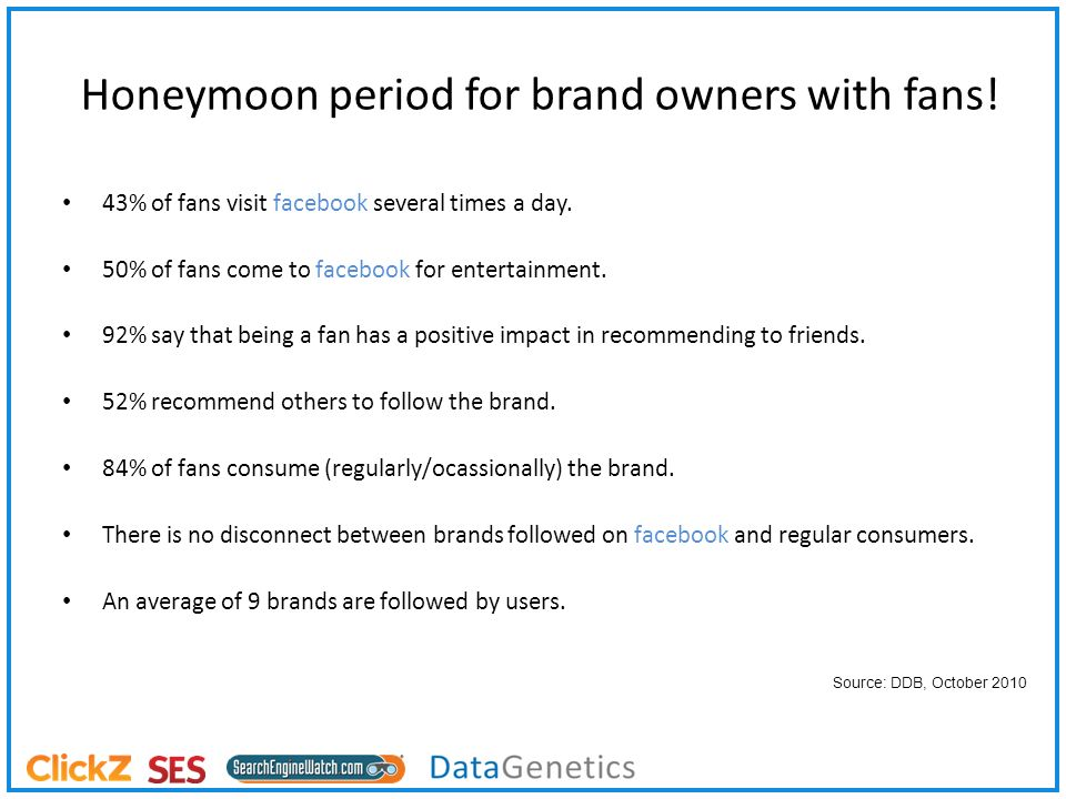 Honeymoon period for brand owners with fans. 43% of fans visit facebook several times a day.