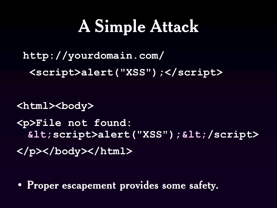 A Simple Attack   alert( XSS ); File not found: <script>alert( XSS );</script> Proper escapement provides some safety.