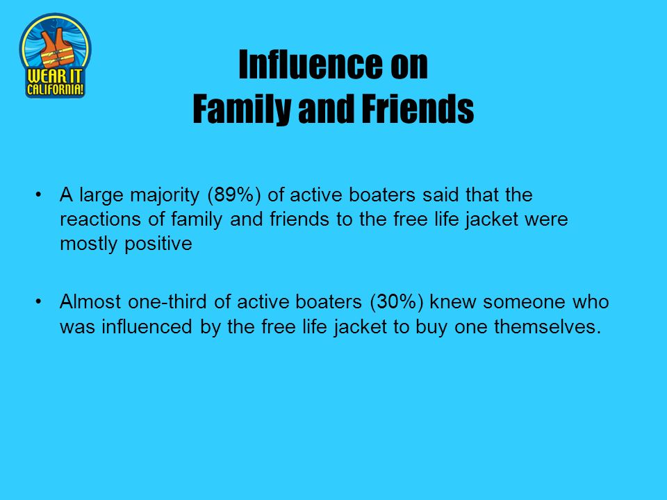 Influence on Family and Friends A large majority (89%) of active boaters said that the reactions of family and friends to the free life jacket were mostly positive Almost one-third of active boaters (30%) knew someone who was influenced by the free life jacket to buy one themselves.