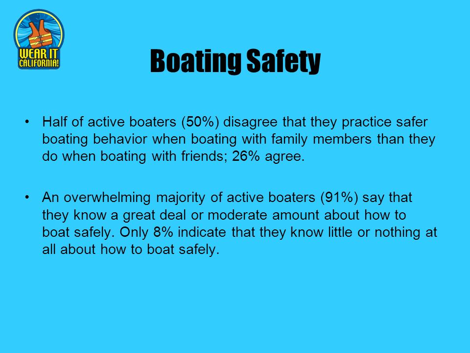 Boating Safety Half of active boaters (50%) disagree that they practice safer boating behavior when boating with family members than they do when boating with friends; 26% agree.