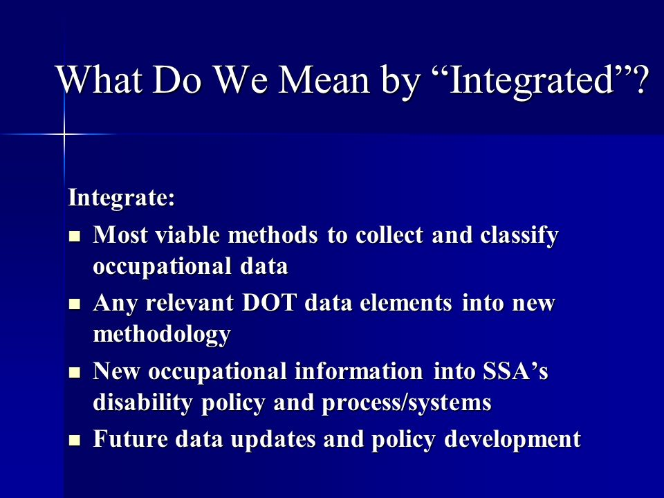 What Do We Mean by Integrated.