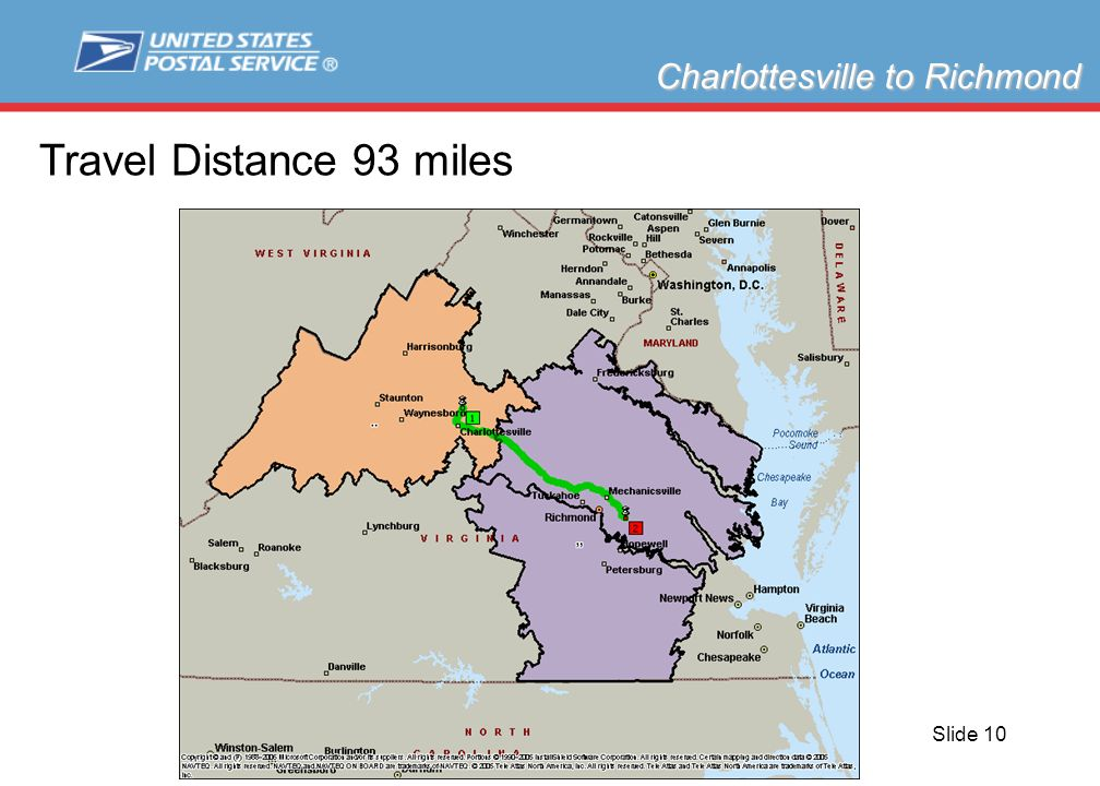 Slide 10 Charlottesville to Richmond Travel Distance 93 miles