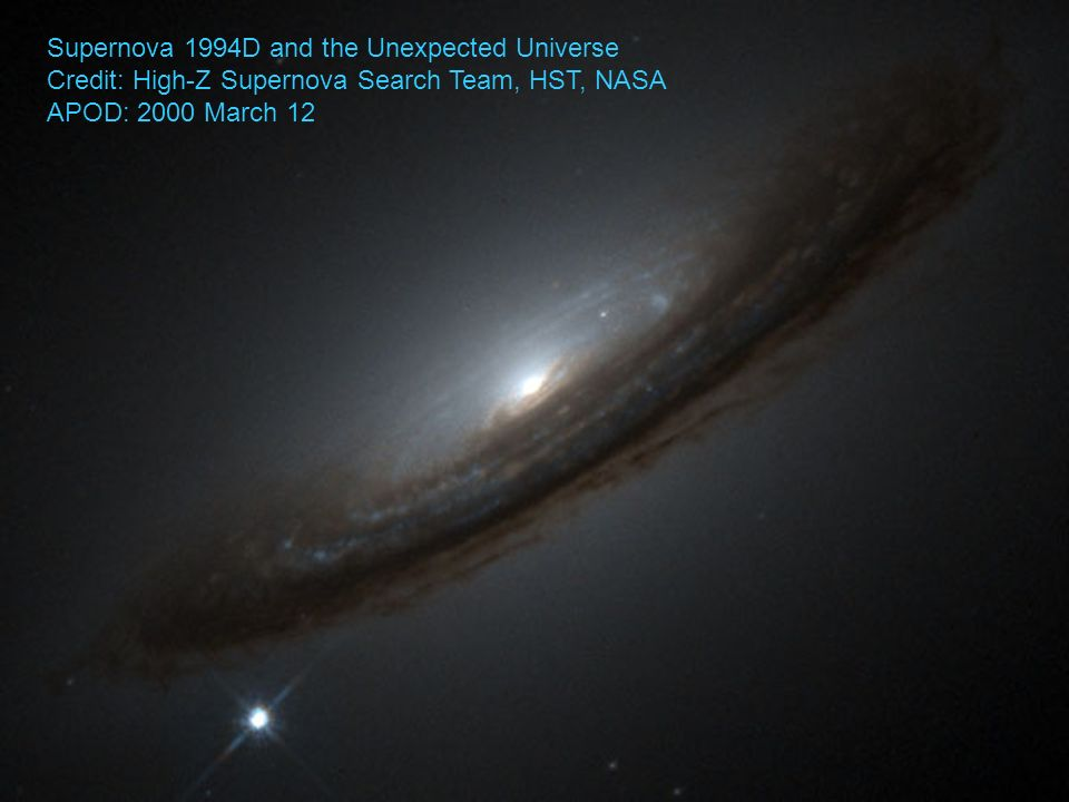 Supernova 1994D and the Unexpected Universe Credit: High-Z Supernova Search Team, HST, NASA APOD: 2000 March 12