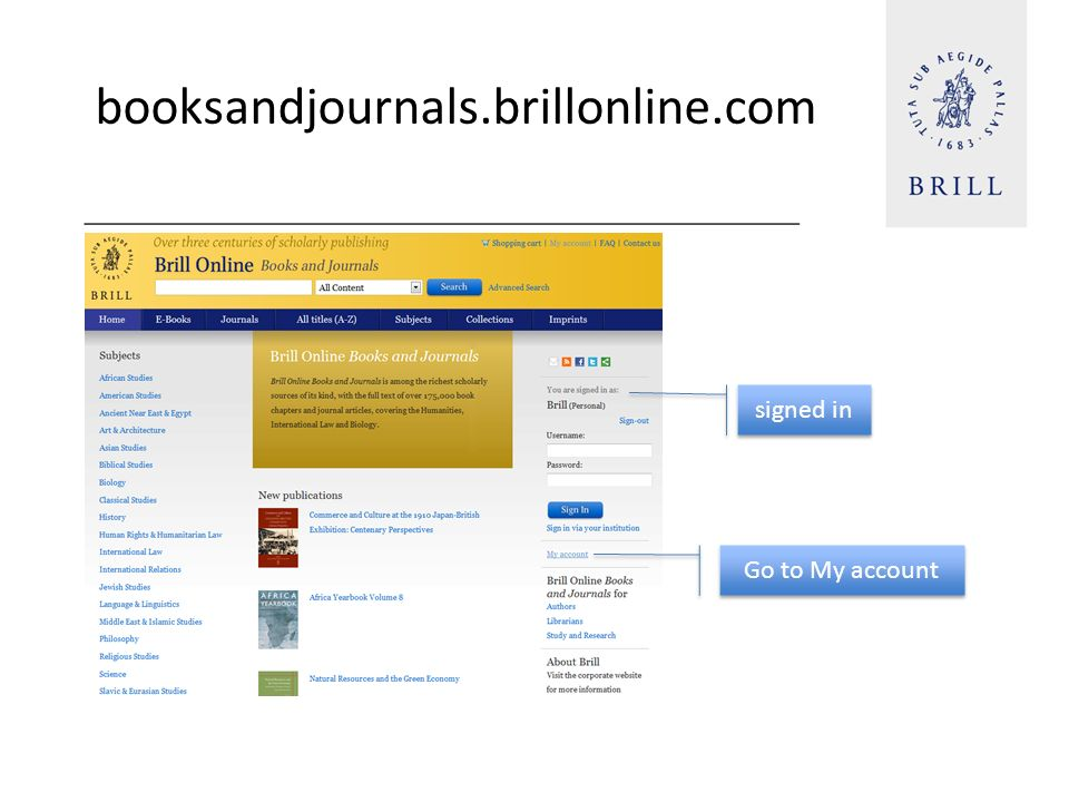 booksandjournals.brillonline.com signed in Go to My account