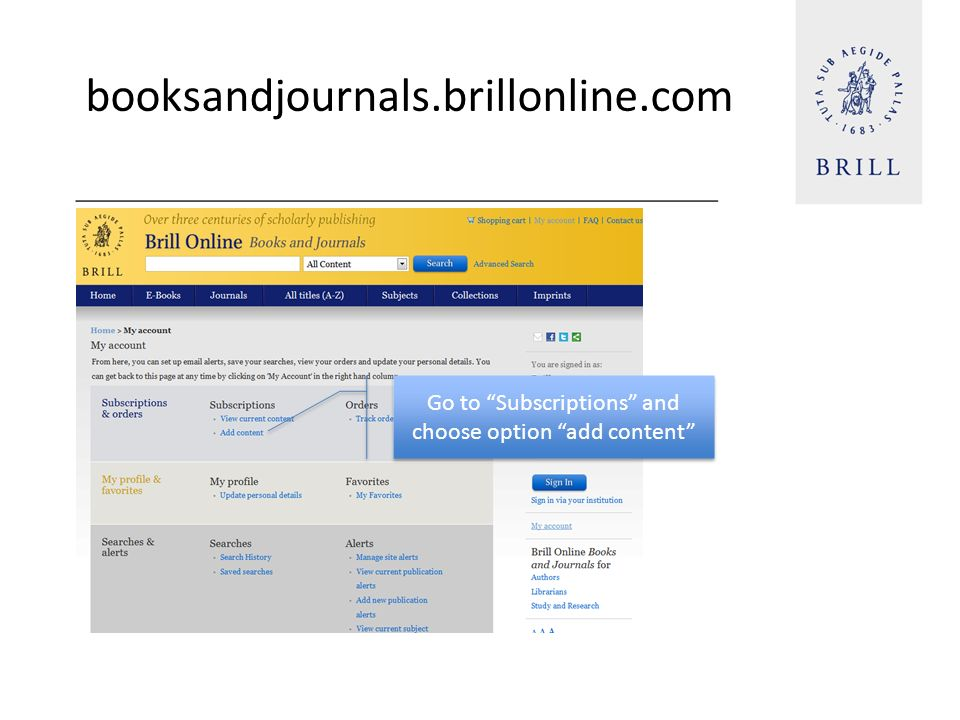 booksandjournals.brillonline.com Go to Subscriptions and choose option add content