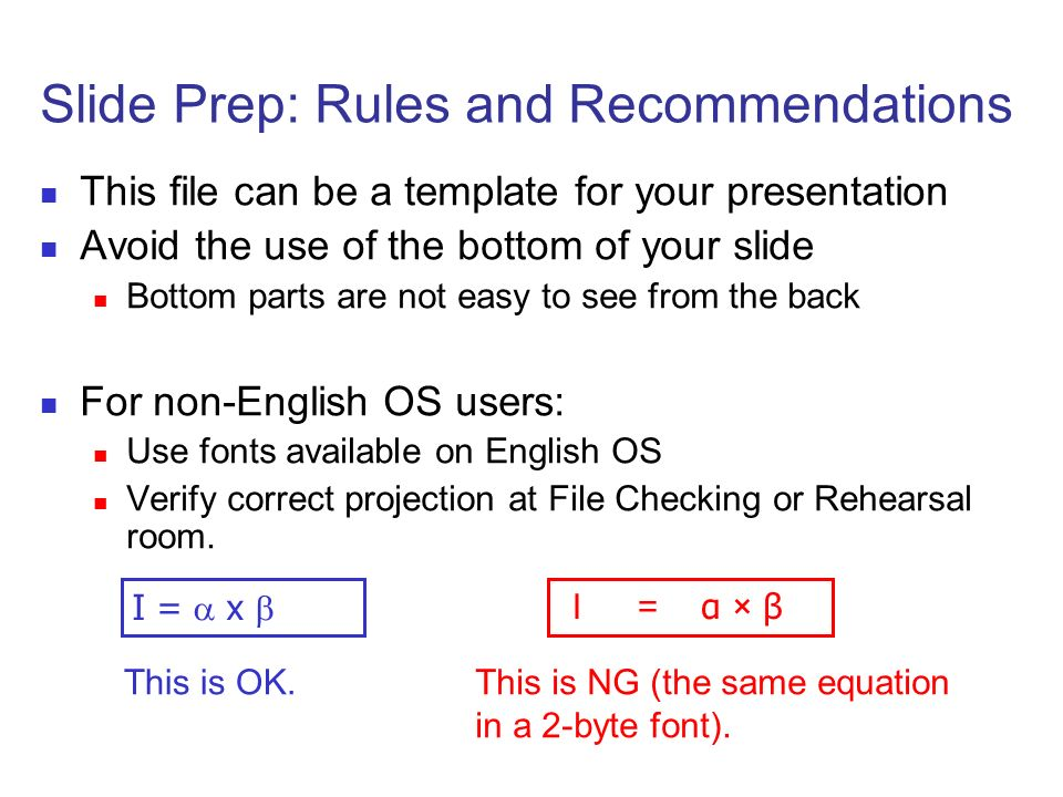 Slide Prep: Rules and Recommendations α × β I = x This is OK.