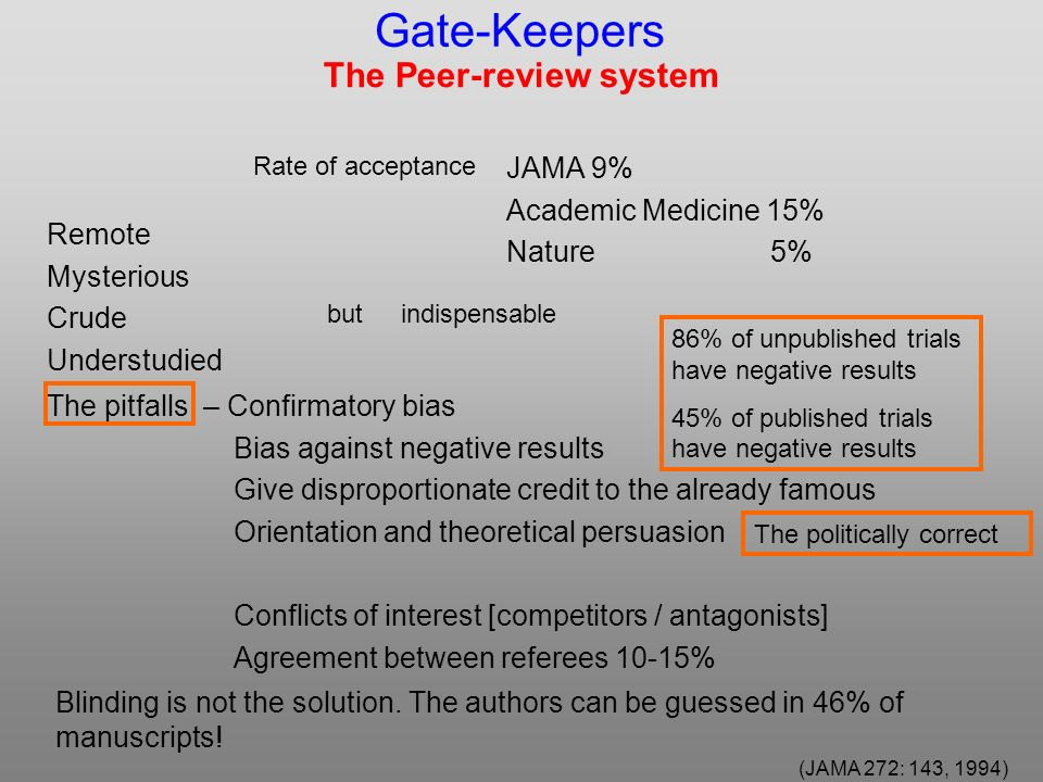 The Peer-review system JAMA 9% Academic Medicine 15% Nature 5% butindispensable Remote Mysterious Crude Understudied – Confirmatory bias Bias against negative results Give disproportionate credit to the already famous Orientation and theoretical persuasion Conflicts of interest [competitors / antagonists] Agreement between referees 10-15% 86% of unpublished trials have negative results 45% of published trials have negative results The politically correct Blinding is not the solution.