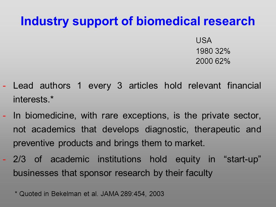 Industry support of biomedical research USA % % -Lead authors 1 every 3 articles hold relevant financial interests.* -In biomedicine, with rare exceptions, is the private sector, not academics that develops diagnostic, therapeutic and preventive products and brings them to market.