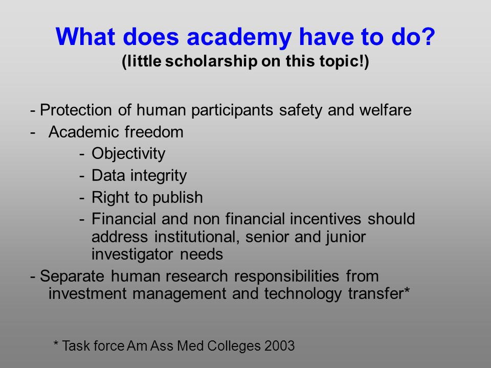 What does academy have to do.