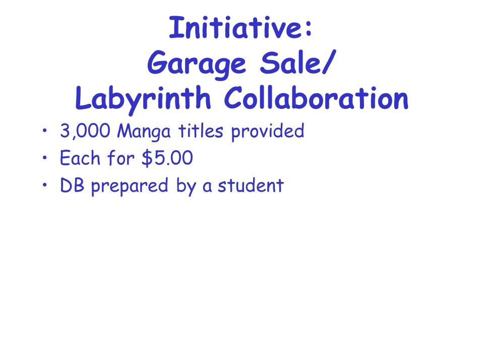 Initiative: Garage Sale/ Labyrinth Collaboration 3,000 Manga titles provided Each for $5.00 DB prepared by a student