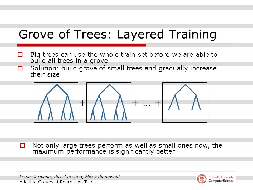Daria Sorokina, Rich Caruana, Mirek Riedewald Additive Groves of Regression Trees Grove of Trees: Layered Training Big trees can use the whole train set before we are able to build all trees in a grove Solution: build grove of small trees and gradually increase their size ++ … + Not only large trees perform as well as small ones now, the maximum performance is significantly better!