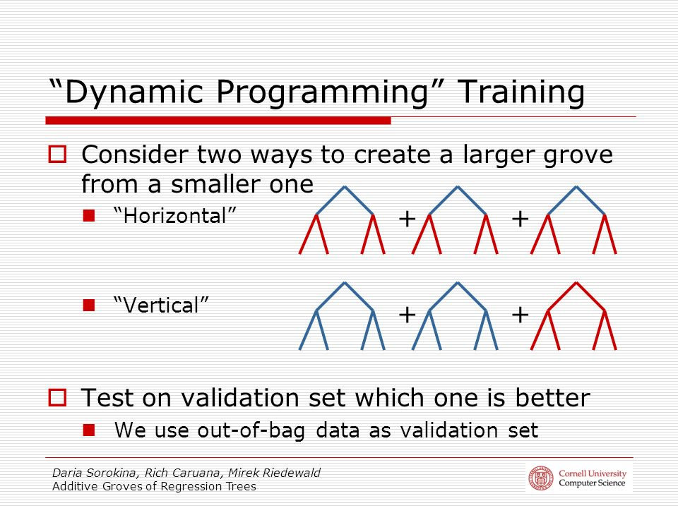 Daria Sorokina, Rich Caruana, Mirek Riedewald Additive Groves of Regression Trees Dynamic Programming Training Consider two ways to create a larger grove from a smaller one Horizontal Vertical Test on validation set which one is better We use out-of-bag data as validation set ++ ++