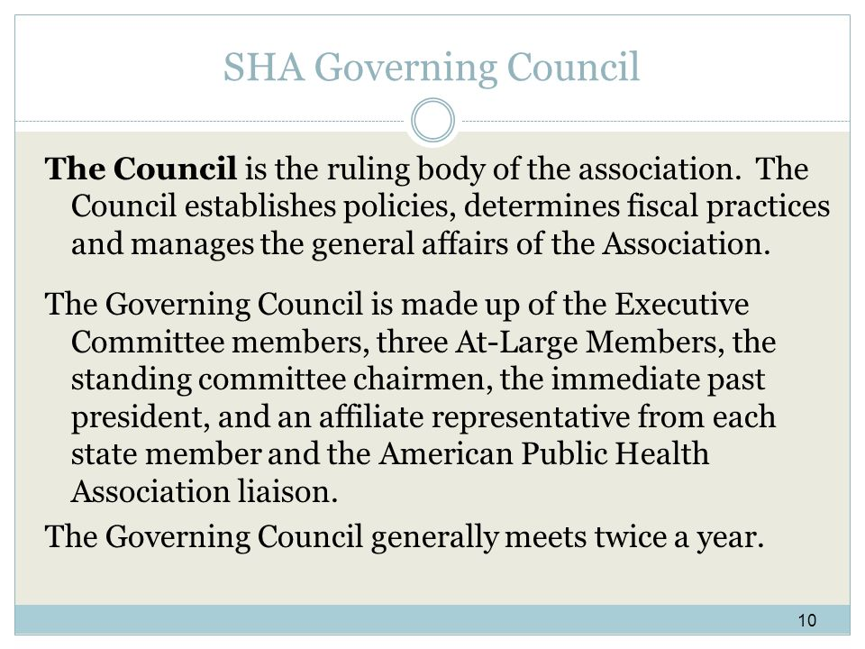 SHA Governing Council The Council is the ruling body of the association.