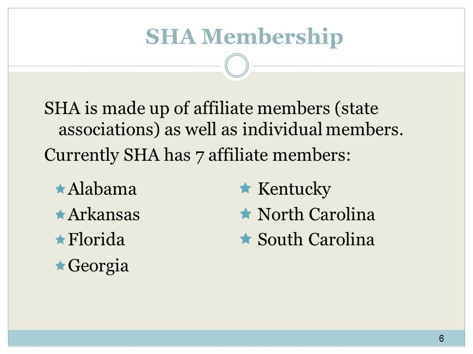 SHA Membership SHA is made up of affiliate members (state associations) as well as individual members.