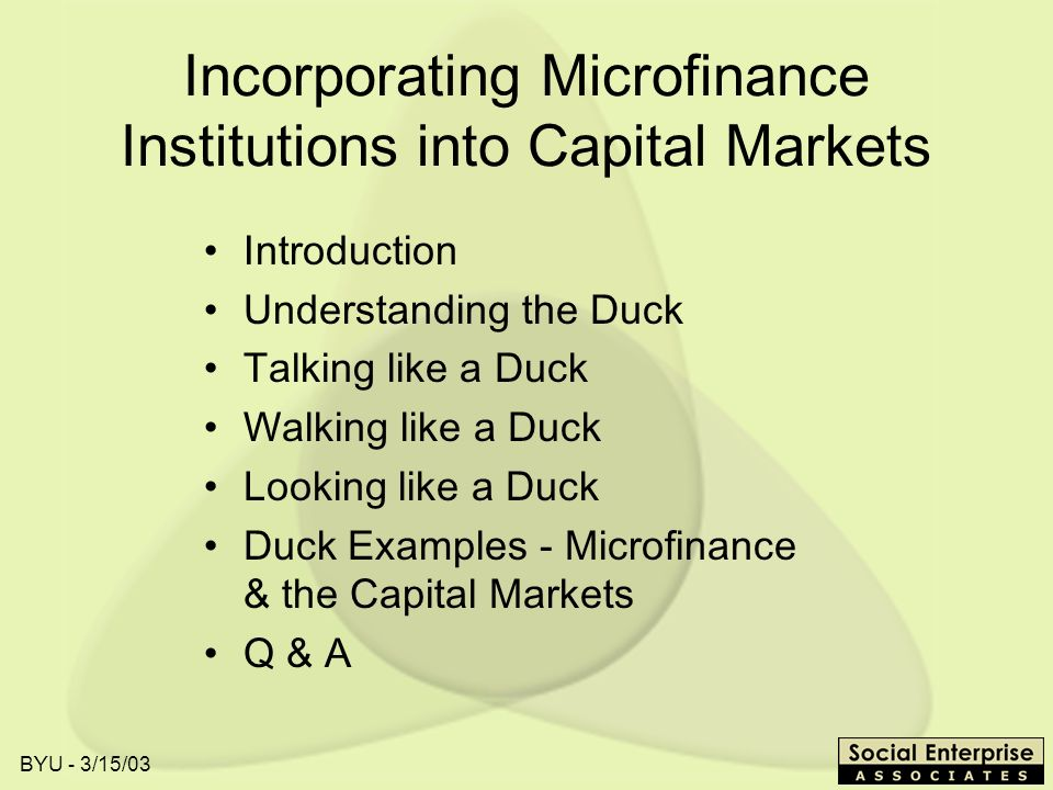BYU - 3/15/03 Incorporating Microfinance Institutions into Capital Markets Introduction Understanding the Duck Talking like a Duck Walking like a Duck Looking like a Duck Duck Examples - Microfinance & the Capital Markets Q & A