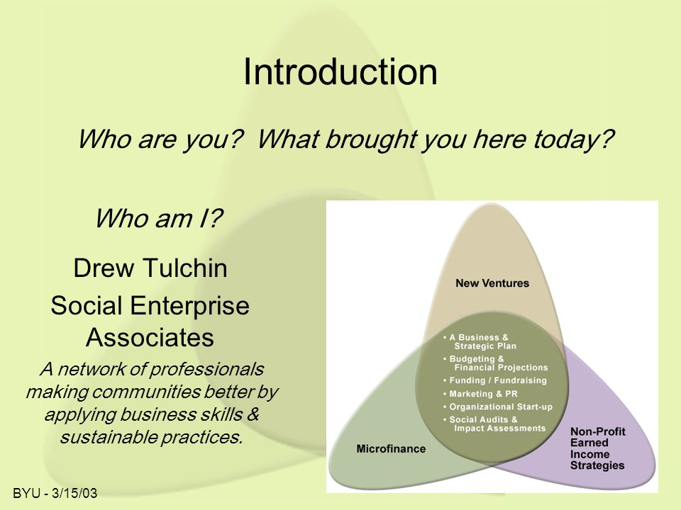 BYU - 3/15/03 Introduction Drew Tulchin Social Enterprise Associates A network of professionals making communities better by applying business skills & sustainable practices.