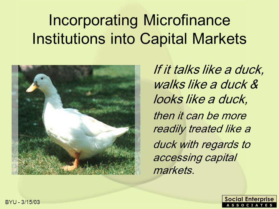 BYU - 3/15/03 Incorporating Microfinance Institutions into Capital Markets If it talks like a duck, walks like a duck & looks like a duck, then it can be more readily treated like a duck with regards to accessing capital markets.