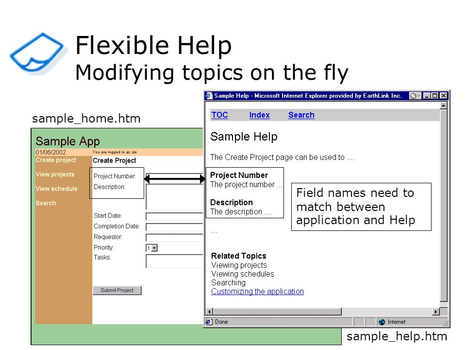 Flexible Help Modifying topics on the fly sample_help.htm sample_home.htm Field names need to match between application and Help