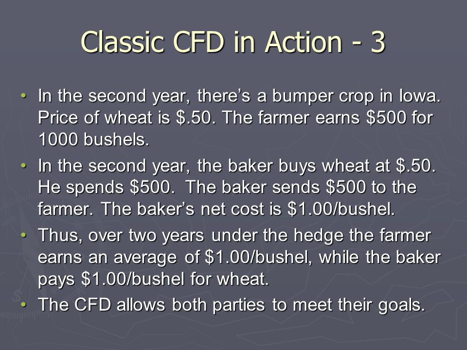 Classic CFD in Action - 3 In the second year, theres a bumper crop in Iowa.