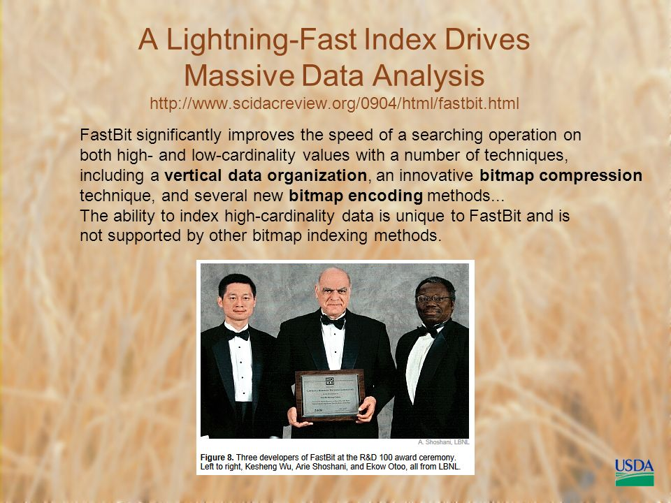 A Lightning-Fast Index Drives Massive Data Analysis   FastBit significantly improves the speed of a searching operation on both high- and low-cardinality values with a number of techniques, including a vertical data organization, an innovative bitmap compression technique, and several new bitmap encoding methods...