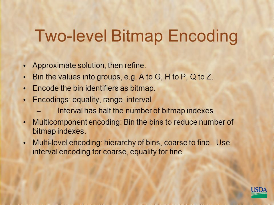 Two-level Bitmap Encoding Approximate solution, then refine.
