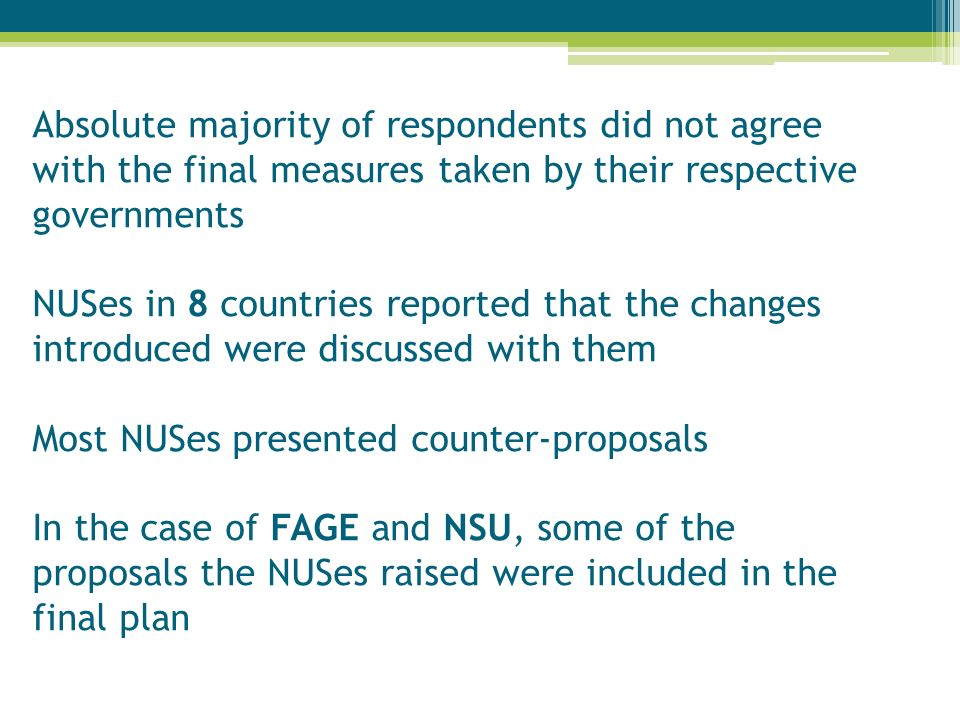 Absolute majority of respondents did not agree with the final measures taken by their respective governments NUSes in 8 countries reported that the changes introduced were discussed with them Most NUSes presented counter-proposals In the case of FAGE and NSU, some of the proposals the NUSes raised were included in the final plan