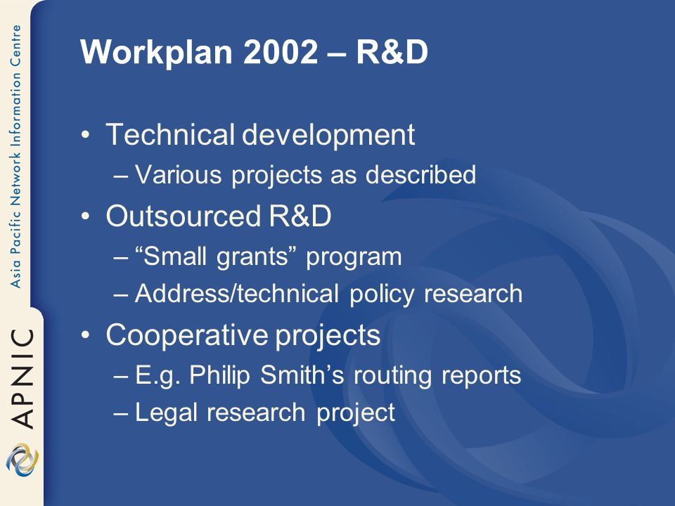 Workplan 2002 – R&D Technical development –Various projects as described Outsourced R&D –Small grants program –Address/technical policy research Cooperative projects –E.g.