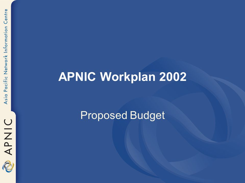 APNIC Workplan 2002 Proposed Budget