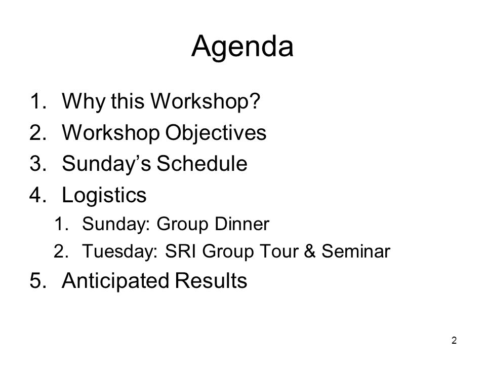 2 Agenda 1.Why this Workshop.