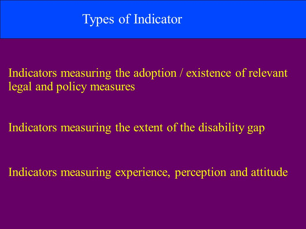 Types of Indicator Indicators measuring the adoption / existence of relevant legal and policy measures Indicators measuring the extent of the disability gap Indicators measuring experience, perception and attitude