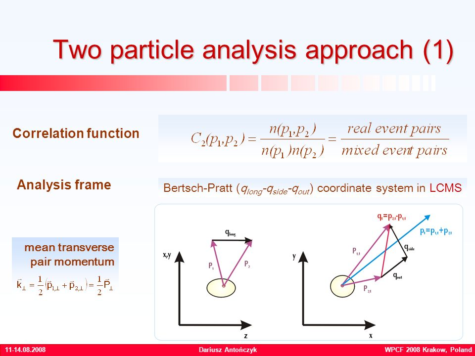 Dariusz Antończyk WPCF 2008 Krakow, Poland Two particle analysis approach (1) Correlation function Analysis frame Bertsch-Pratt (q long -q side -q out ) coordinate system in LCMS mean transverse pair momentum