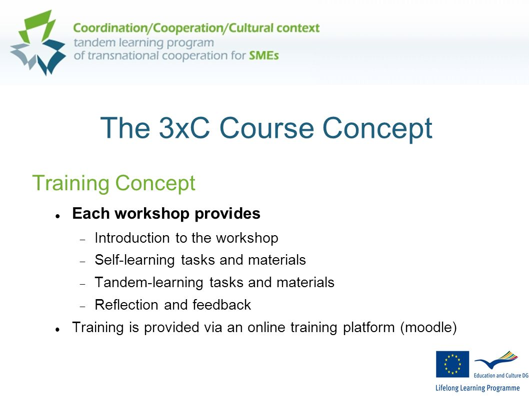 The 3xC Course Concept Training Concept Each workshop provides Introduction to the workshop Self-learning tasks and materials Tandem-learning tasks and materials Reflection and feedback Training is provided via an online training platform (moodle)