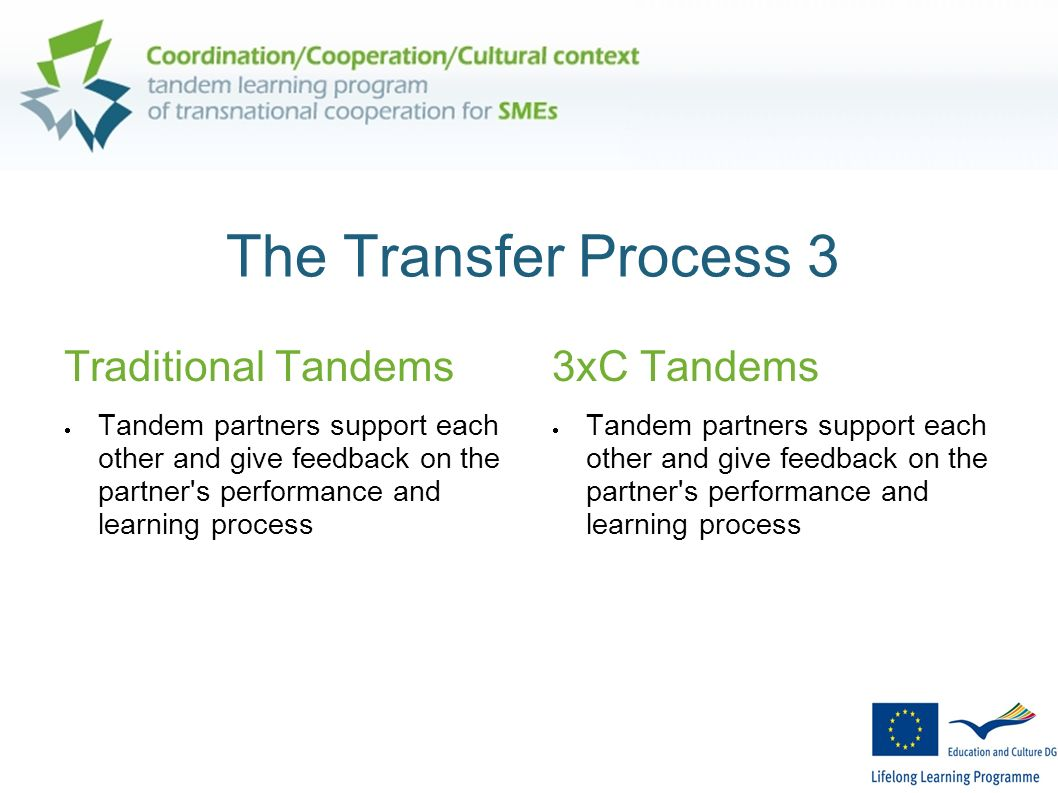 The Transfer Process 3 Traditional Tandems Tandem partners support each other and give feedback on the partner s performance and learning process 3xC Tandems Tandem partners support each other and give feedback on the partner s performance and learning process