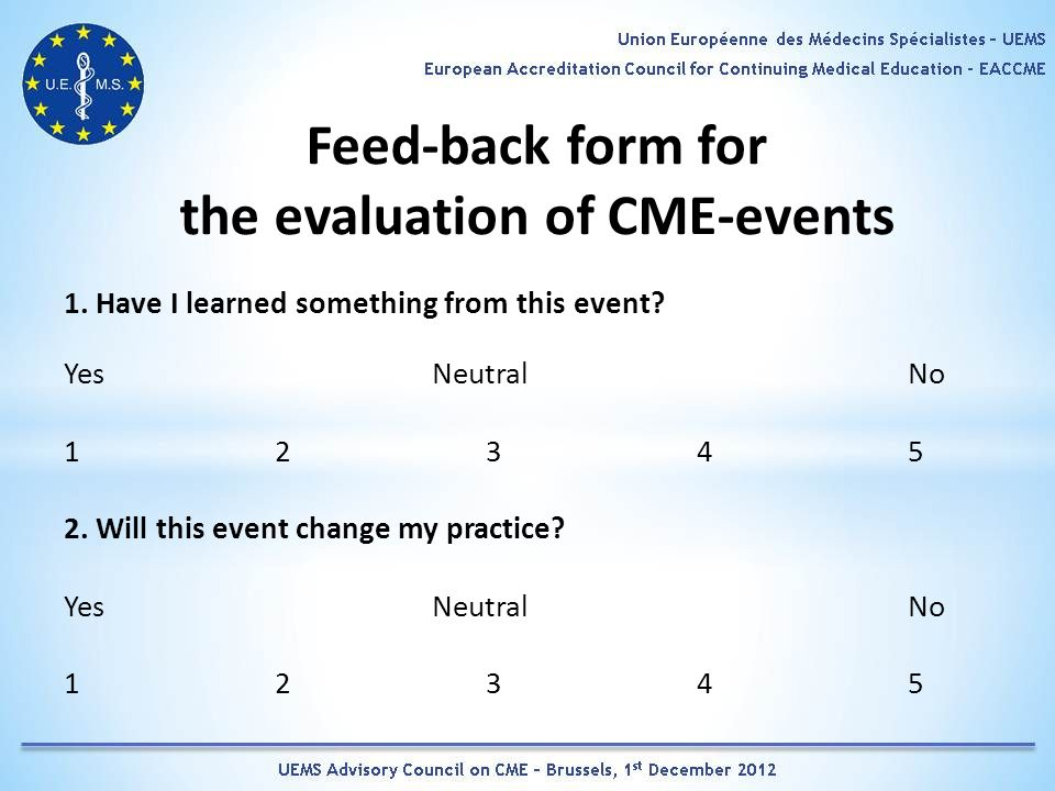 Feed-back form for the evaluation of CME-events 1.