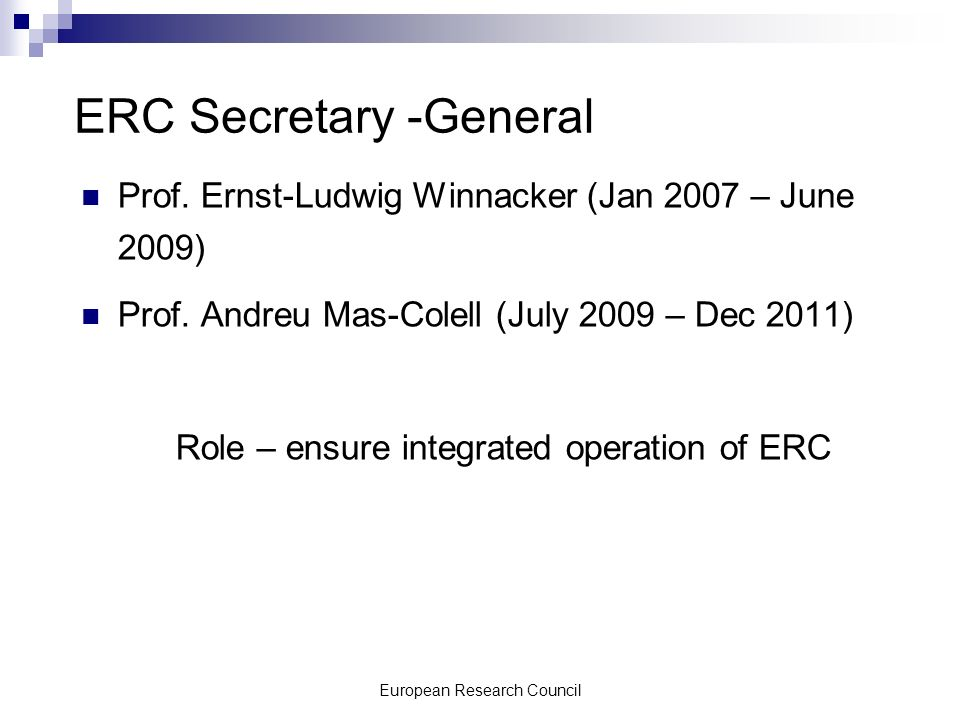 European Research Council ERC Secretary -General Prof.