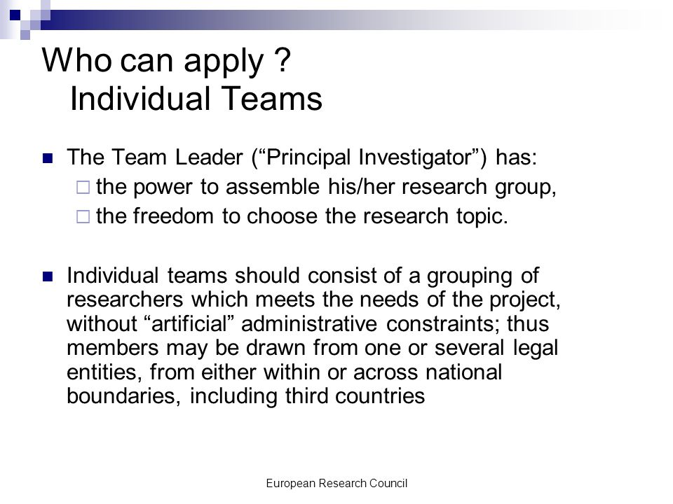 European Research Council Who can apply .
