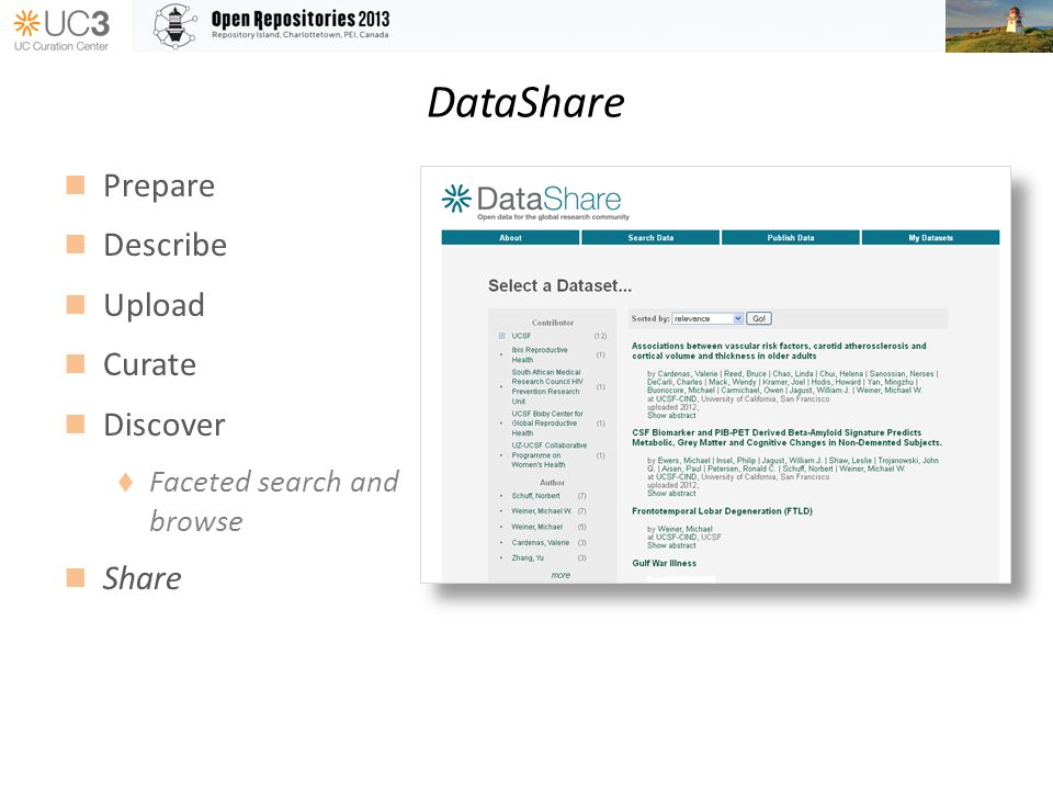 DataShare Prepare Describe Upload Curate Discover Faceted search and browse Share