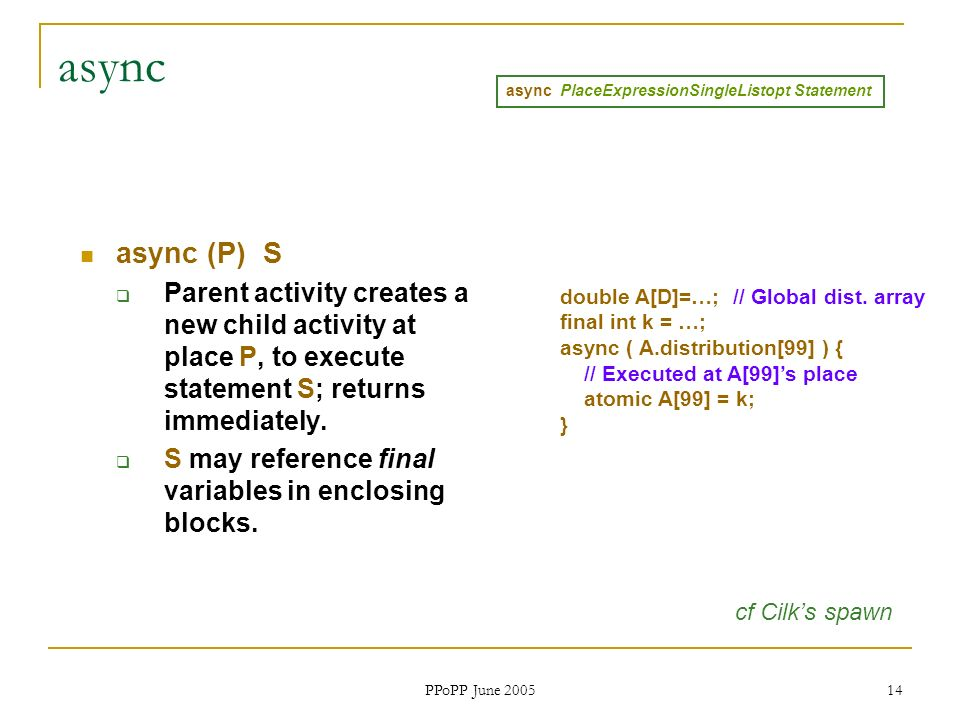 PPoPP June 2005 14 async async (P) S Parent activity creates a new child activity at place P, to execute statement S; returns immediately.