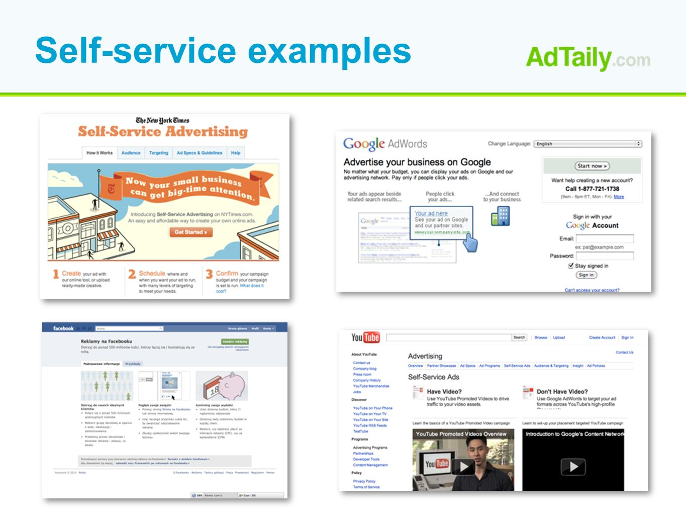 Self-service examples
