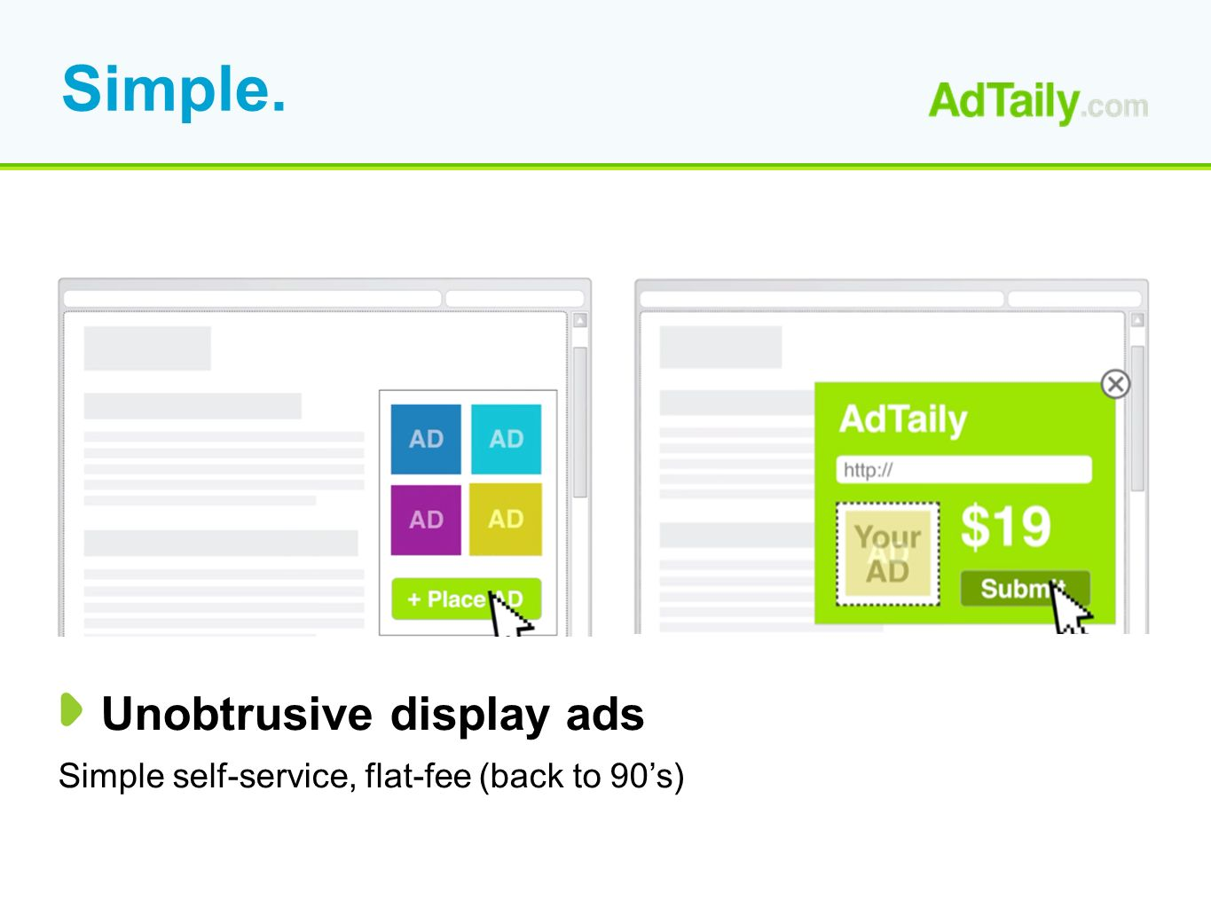 Simple. Unobtrusive display ads Simple self-service, flat-fee (back to 90s)