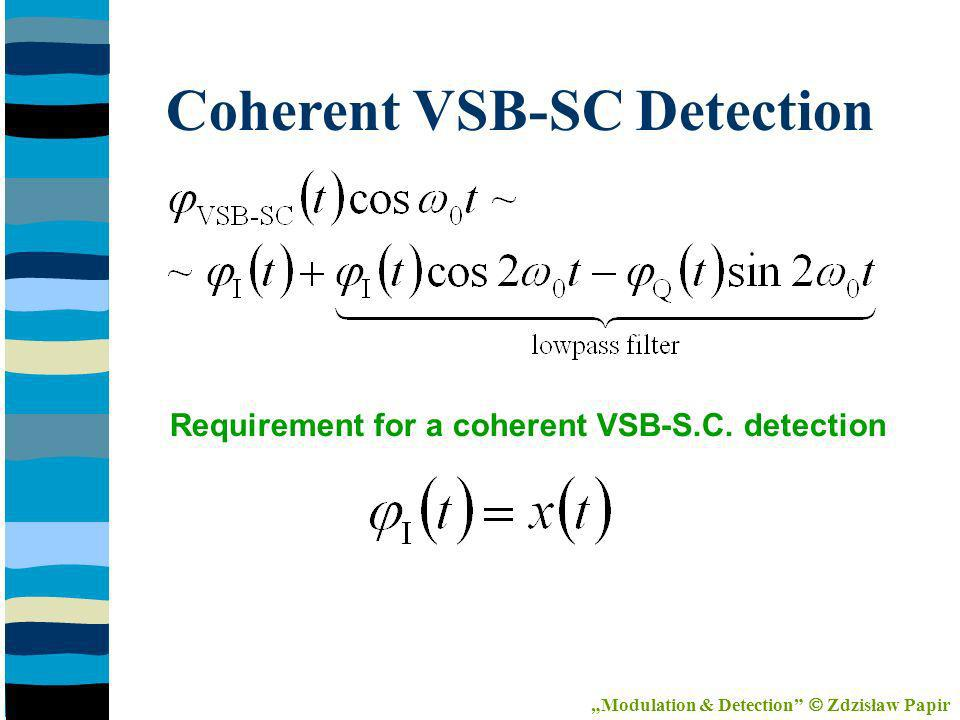 Coherent VSB-SC Detection Requirement for a coherent VSB-S.C.