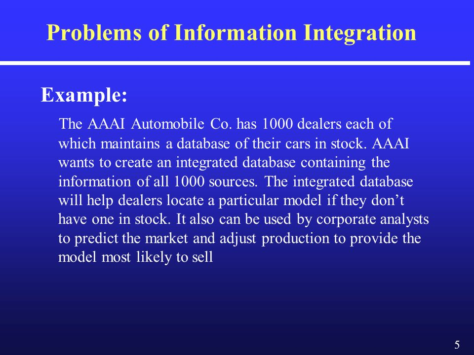 5 Problems of Information Integration Example: The AAAI Automobile Co.