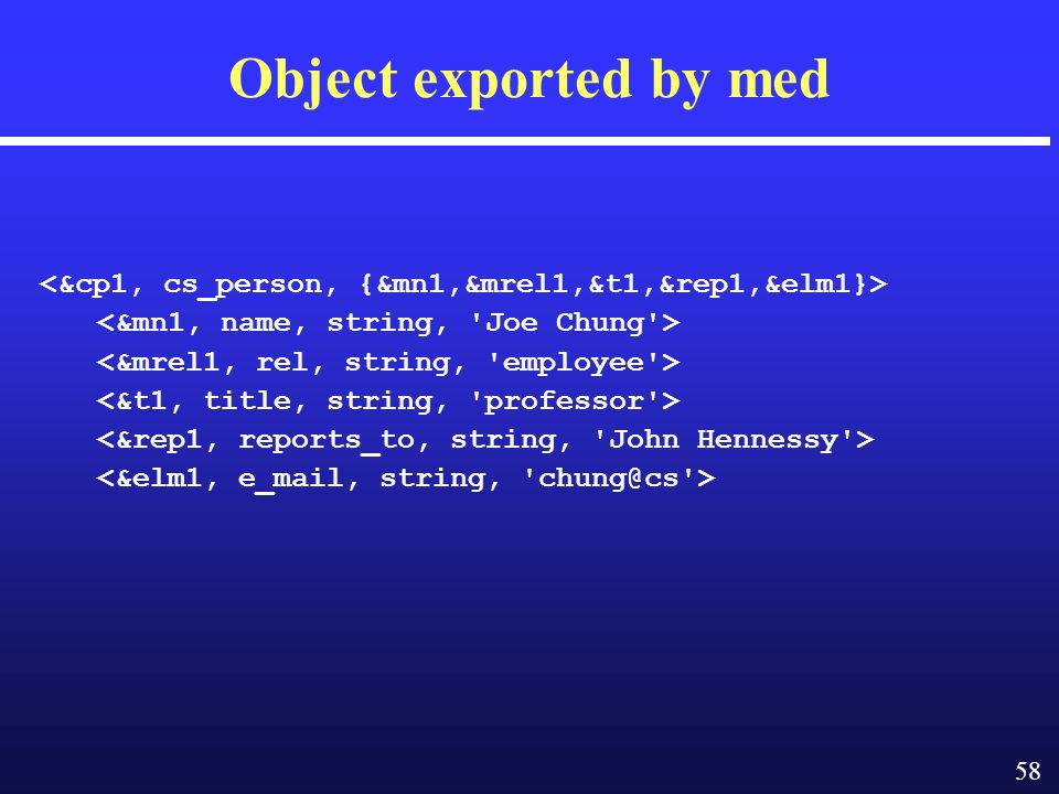 58 Object exported by med