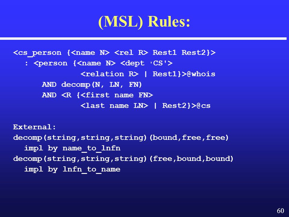 60 (MSL) Rules: Rest1 Rest2}> :­ | AND decomp(N, LN, FN) AND | External: decomp(string,string,string)(bound,free,free) impl by name_to_lnfn decomp(string,string,string)(free,bound,bound) impl by lnfn_to_name