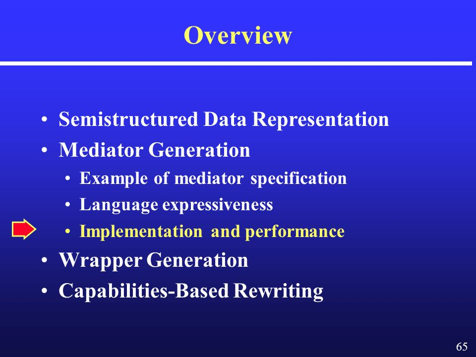 65 Overview Semistructured Data Representation Mediator Generation Example of mediator specification Language expressiveness Implementation and performance Wrapper Generation Capabilities-Based Rewriting