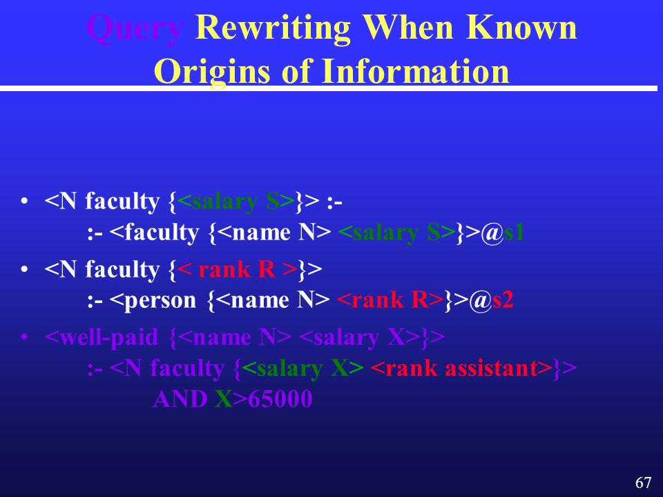 67 Query Rewriting When Known Origins of Information }> :- :- }> :- }> :- }> AND X>65000