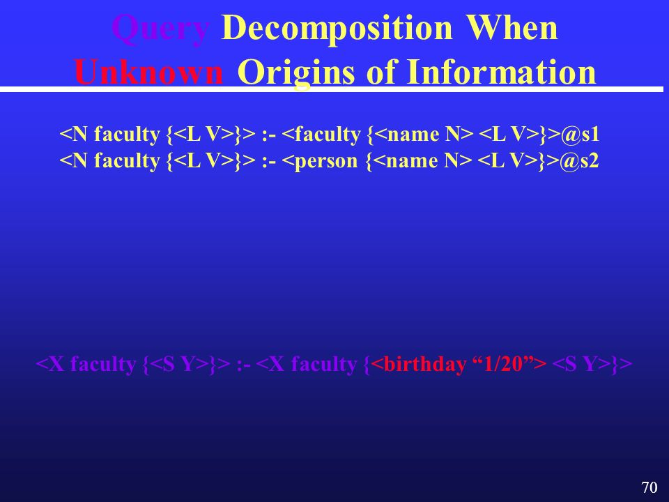 70 Query Decomposition When Unknown Origins of Information }> :- }> }> :- }> :-
