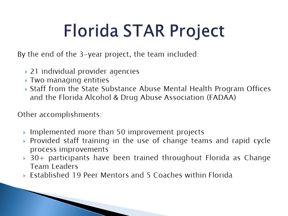 By the end of the 3-year project, the team included: 21 individual provider agencies Two managing entities Staff from the State Substance Abuse Mental Health Program Offices and the Florida Alcohol & Drug Abuse Association (FADAA) Other accomplishments: Implemented more than 50 improvement projects Provided staff training in the use of change teams and rapid cycle process improvements 30+ participants have been trained throughout Florida as Change Team Leaders Established 19 Peer Mentors and 5 Coaches within Florida