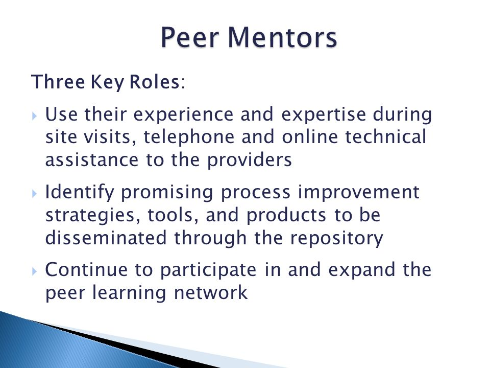 Three Key Roles: Use their experience and expertise during site visits, telephone and online technical assistance to the providers Identify promising process improvement strategies, tools, and products to be disseminated through the repository Continue to participate in and expand the peer learning network
