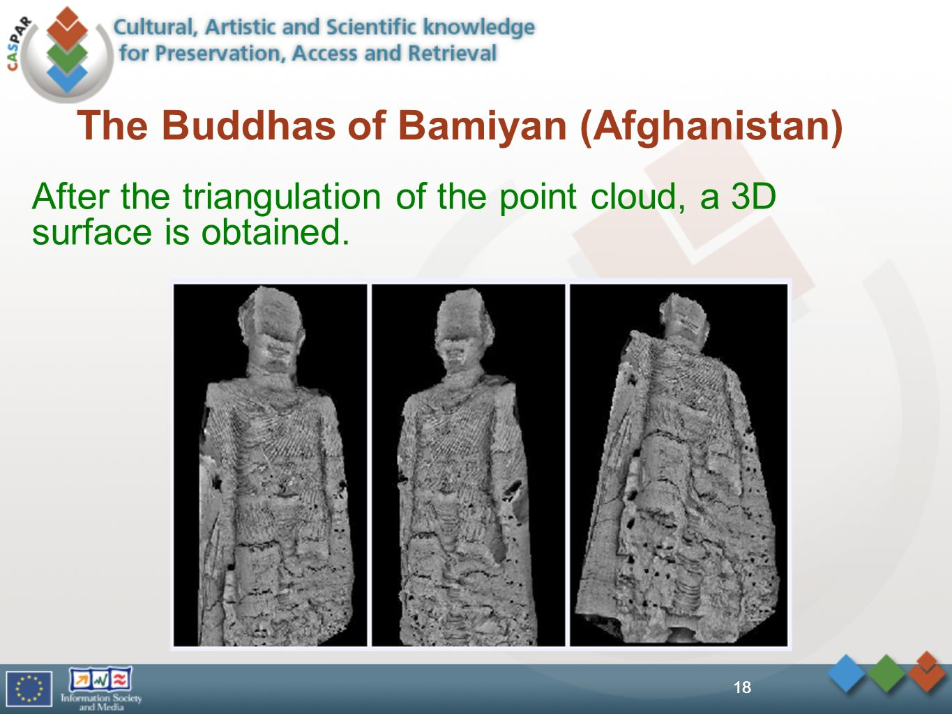 18 The Buddhas of Bamiyan (Afghanistan) After the triangulation of the point cloud, a 3D surface is obtained.